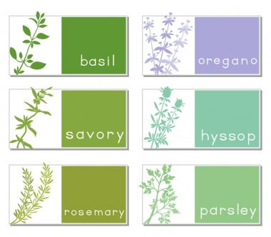 Titled Stickers With Herbs