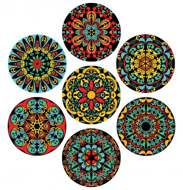 Set Of Brigh Circle Patterns