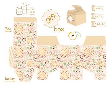 Printable Gift Box Apple Pie Pattern