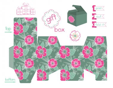 Printable Gift Box With Poppies Pattern