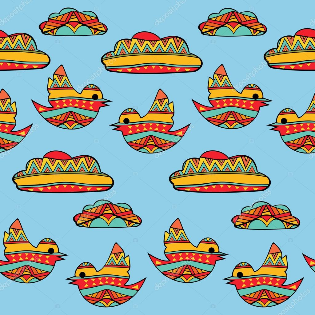 Fancy Birds And Clouds Seamless Pattern