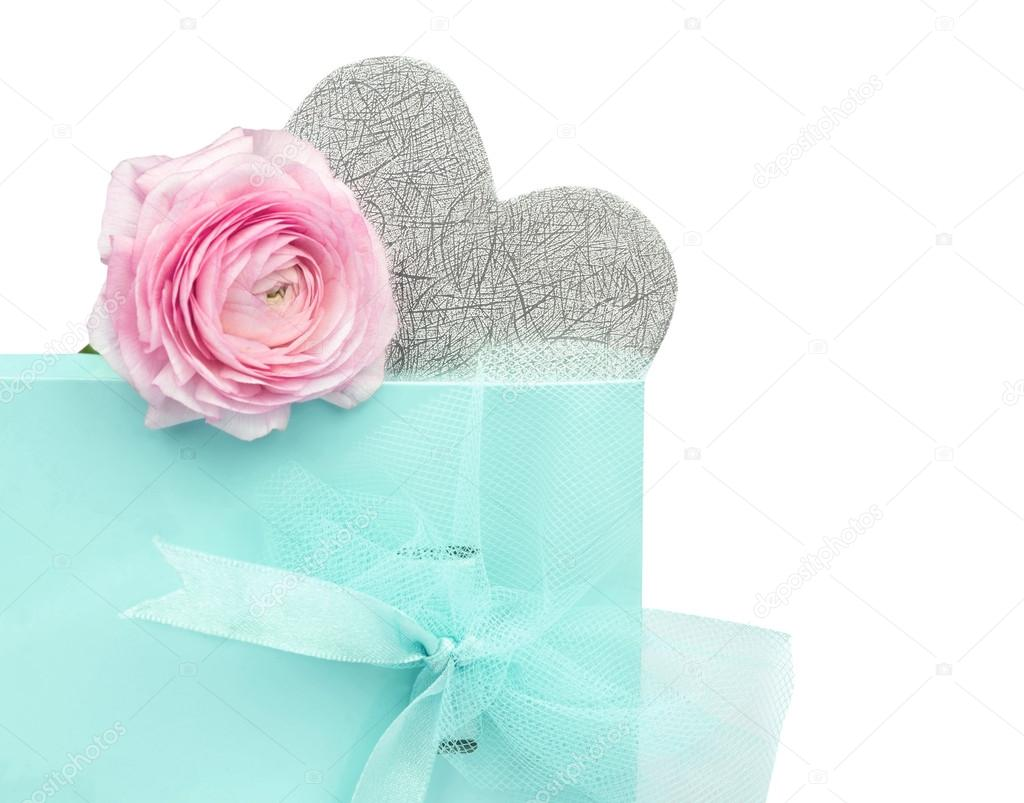 Blue Gift Box With Bow Silver Heart Pink Flower On White Background Photo By Vfotografie