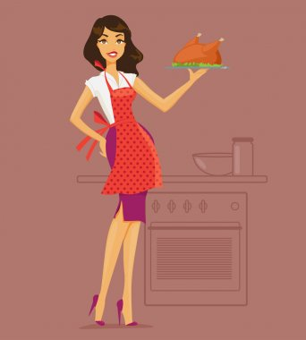 Vector illustration of housewife in the kitchen cooking deals
