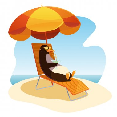 Penguin on the beach with a cocktail clip art vector