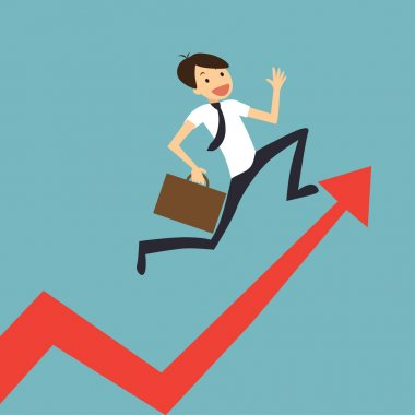 businessman jump over growing chart