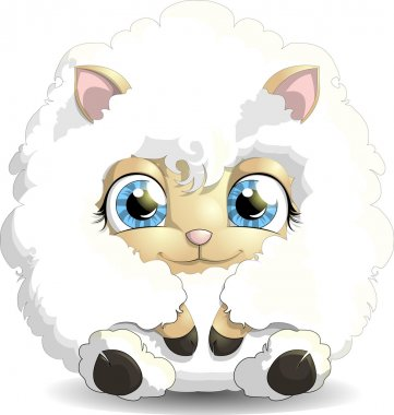 The beautiful lamb who sits and is drawn on a white background stock vector