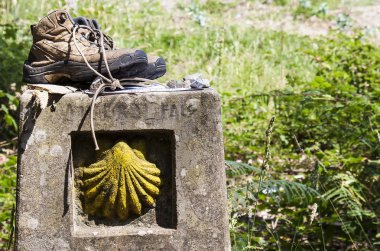 Boots on a landmark