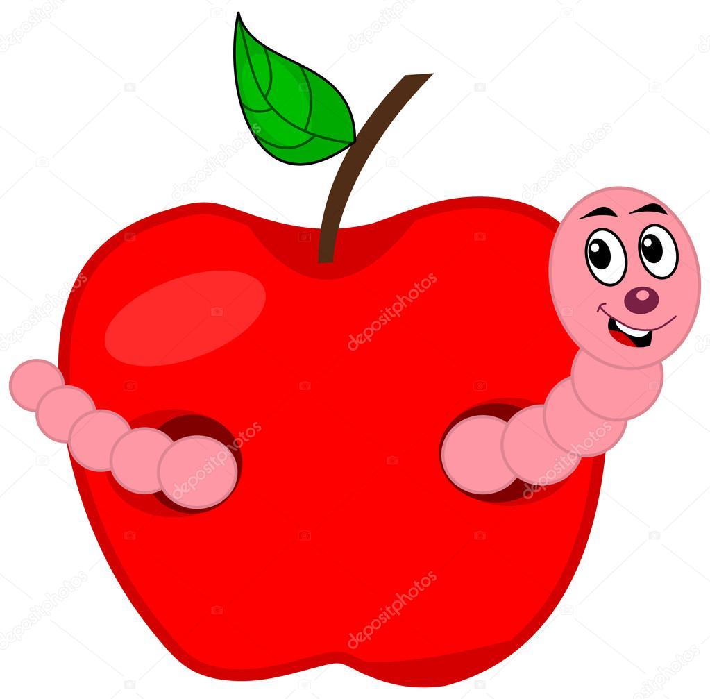 een worm eten van een appel — stockvector © hurgem 49938705