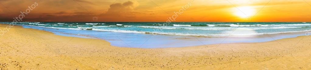 Panoramic Beach Sunset