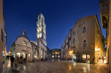 Peristyle (Peristil), Split, Croatia, night view