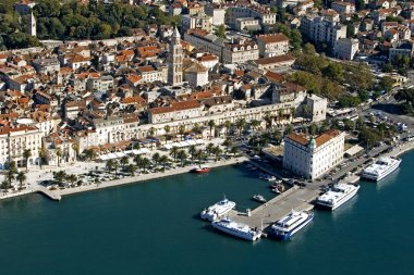 Town Split, city center,aerial view from the sea, Croatia