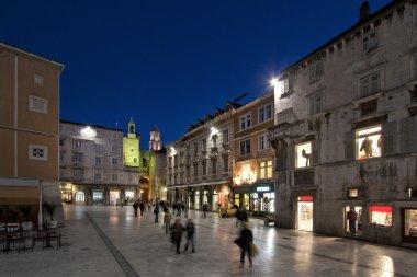 Night view of 's square in Split, Croatia