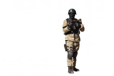 Special Forces soldier, with assault rifle, isolated on white