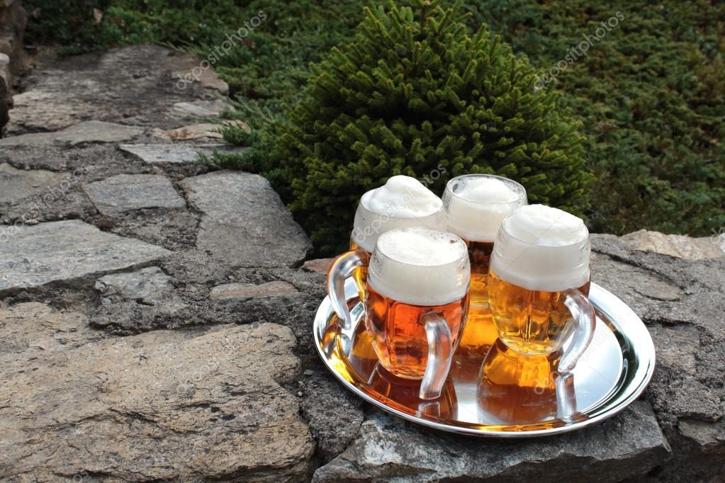 Glass of beer on a stone wall, garden party
