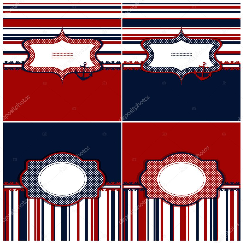 Collection of marine backgrounds in dark blue, red and white col