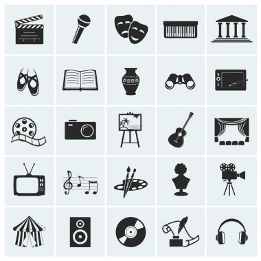 Collection of 25 arts and creative icons. Vector illustration. stock vector