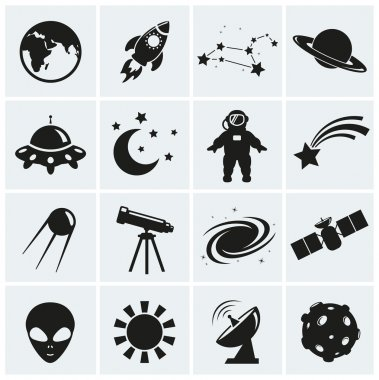Collection of 16 space and astronomy icons. Vector illustration. stock vector
