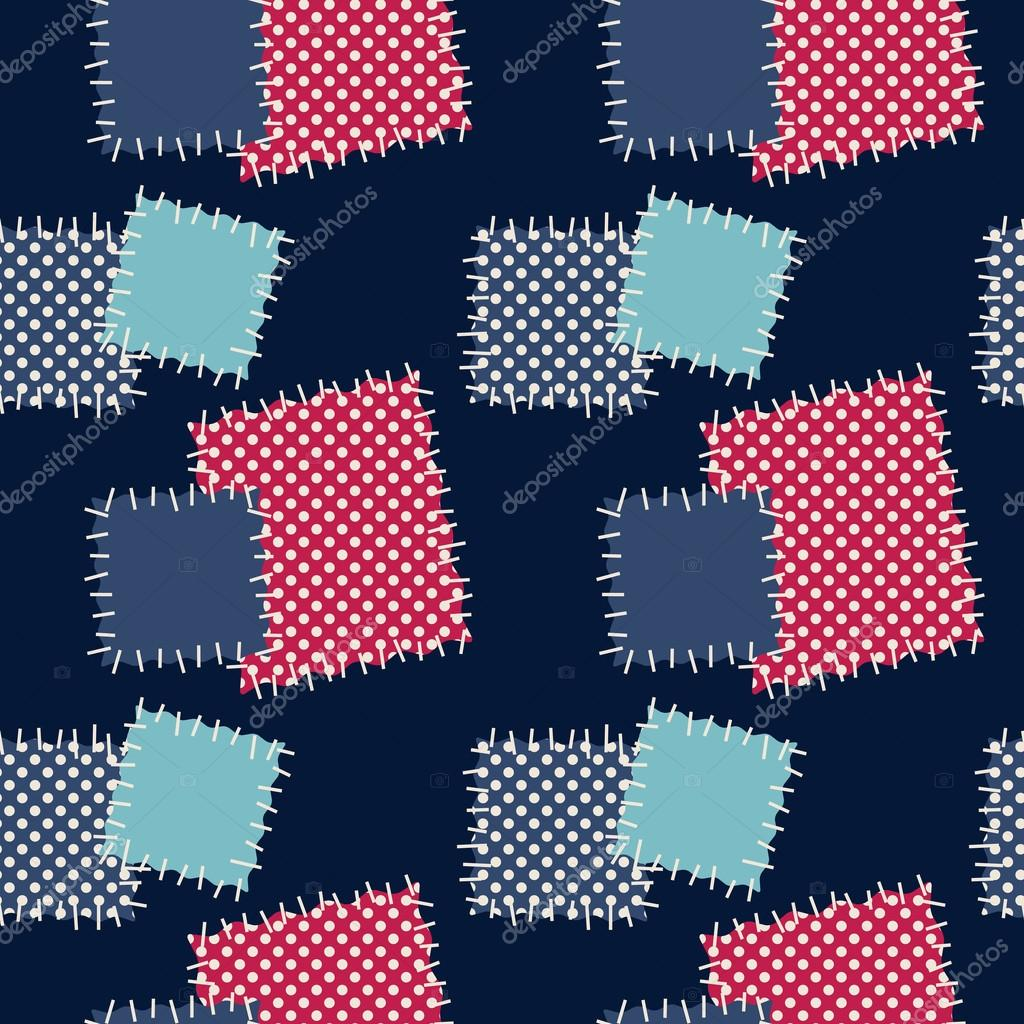 Seamless background with patches. Vector illustration.