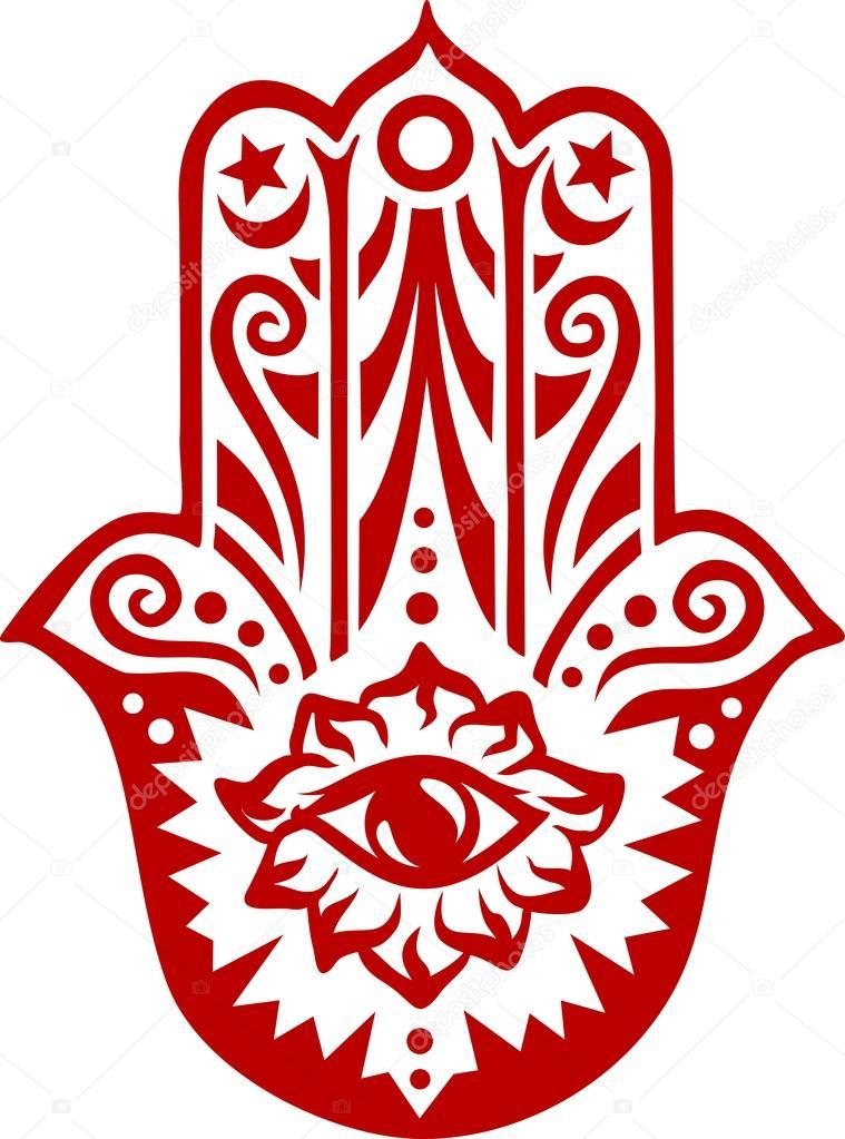 Jewish Hamsa Hand Amulet Or Miriam Hand Vector Illustration Pics