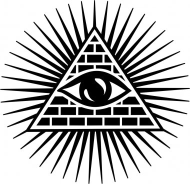 The Eye of Providence (or the all seeing eye of God) is a symbol showing an eye often surrounded by rays of light or a glory and usually enclosed by a triangle (fire or trinity). The all seeing eye is the eye of consciousness and divinity. stock vector