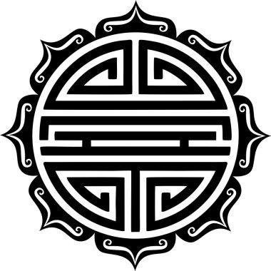 Shou Symbol, Lotus - Chinese Good Luck Charm - Longevity & Good Health