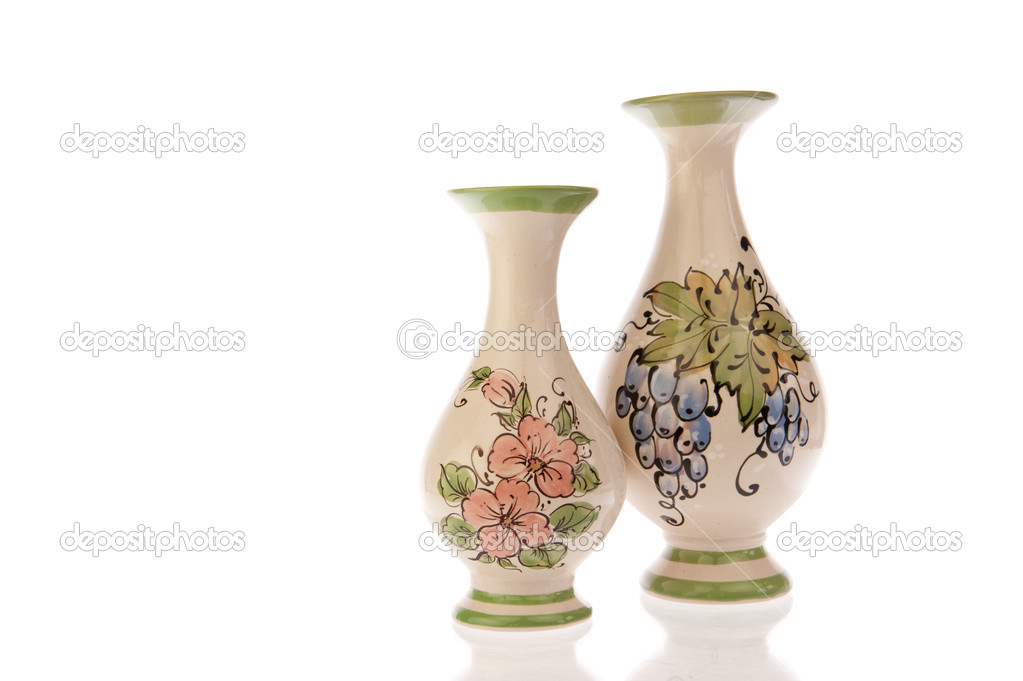 Two Vases With Flowers And Grapes Stock Photo Yellowpaul 27093919