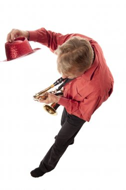 Man with hat and saxophone from above