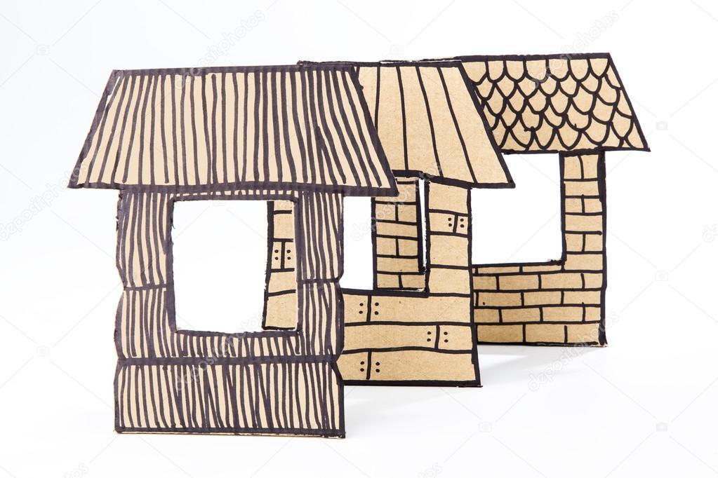 Casas de paja palos y briks hechas con cart n foto de stock ulldellebre 29284411 Casas hechas de carton