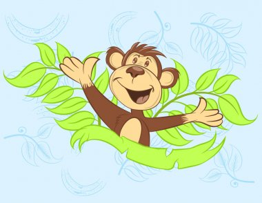 Ilustration vector happy monkey with leaves.