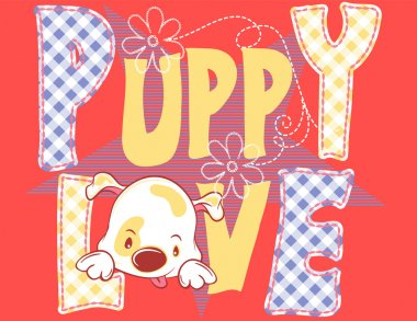 Illustration vector of cute dog with text puppy love background.