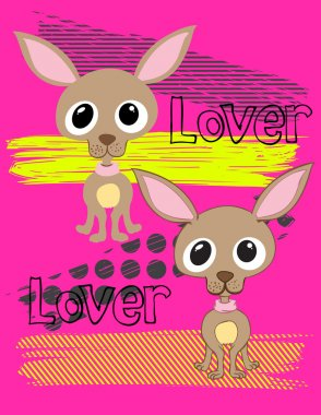 Illustration vector of little dog chihuahua with background.
