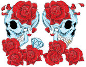 Ilustration vector of skull with roses.