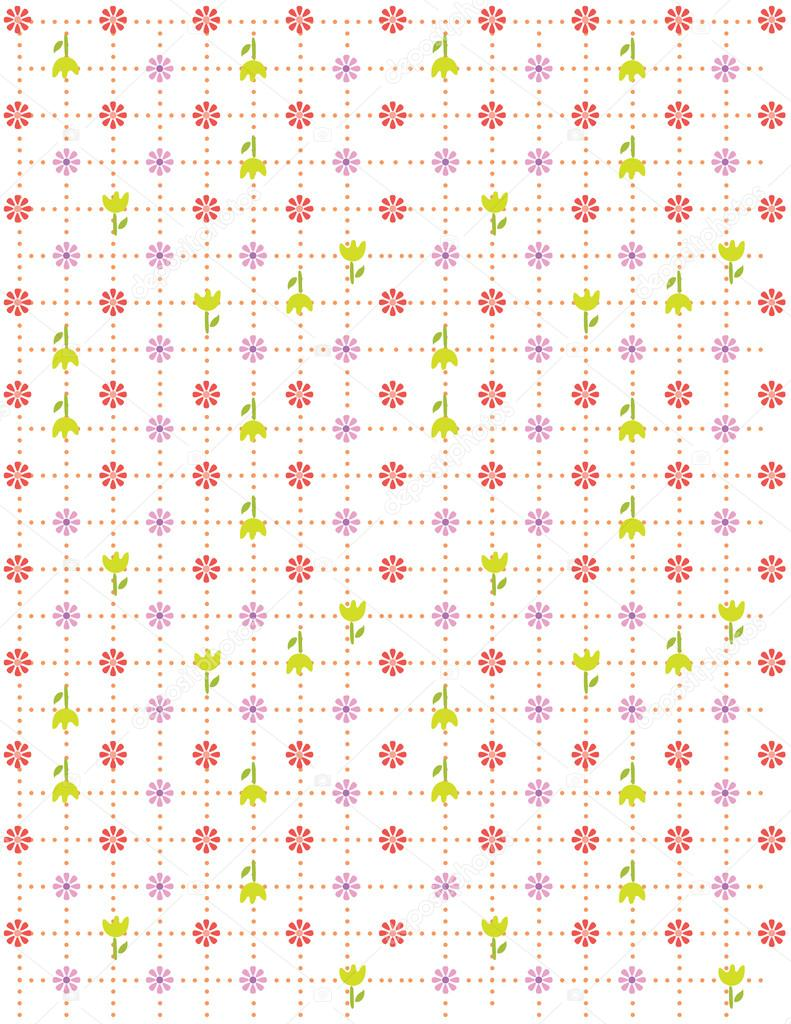イラスト ベクトルまたはシームレスな春かわいい小さなヴィンテージの花