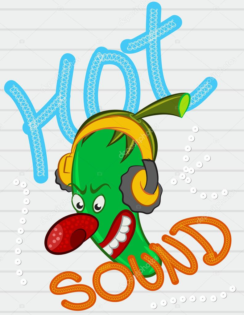 Illustration Vector Mexican Chilli Pepper Cartoon With Text.