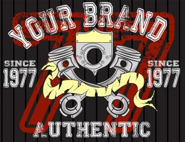 Motorcycle rider - Vintage artwork for boy t shirt in custom colors, grunge effect in separate layer