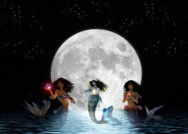 Mermaids swimming in the moonlight.