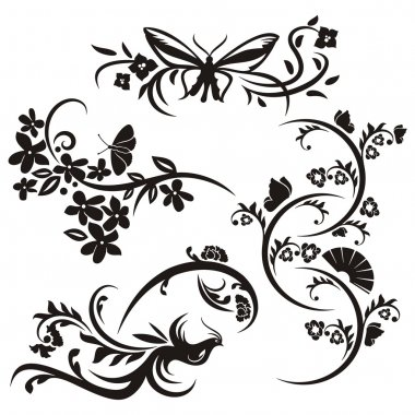 A set of 4 chinese floral designs