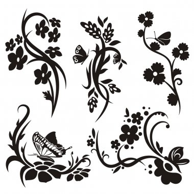 A set of 5 chinese floral designs