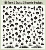 Vektorové strom a travní siluety sada
