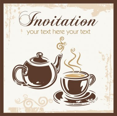 Tea time party invitation with place for your text.