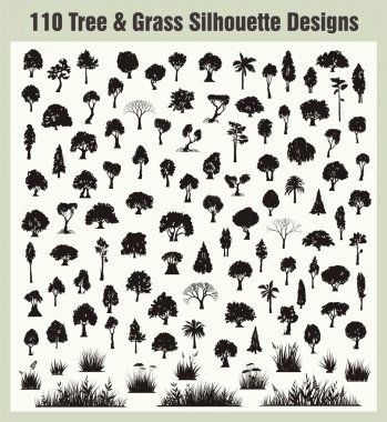 Vector Tree and Grass Silhouettes Set