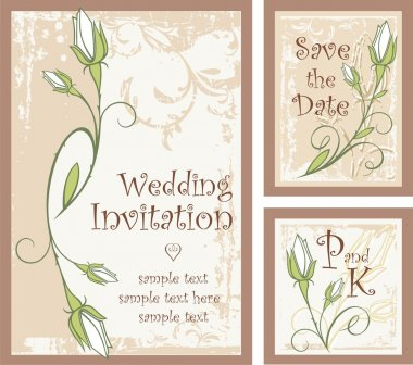 Wedding Invitation Designs Set with Rose Buds