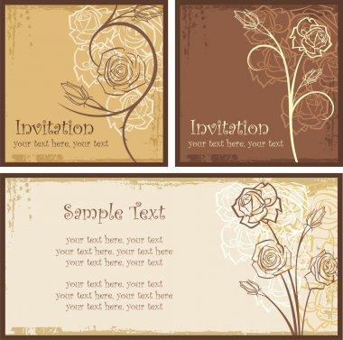 Ornamental Invitation Designs Set with Roses