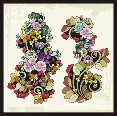 Vector Floral Ornaments in Russian Traditional Style