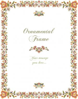 Vector Floral Ornamental Frame in Vintage Style.