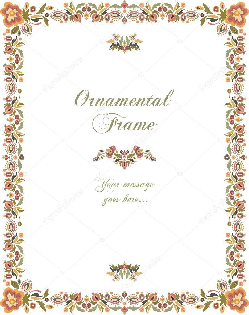 Vector Floral Ornamental Frame in Vintage Style.