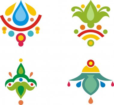 A set of colorful Indian ornamental designs.