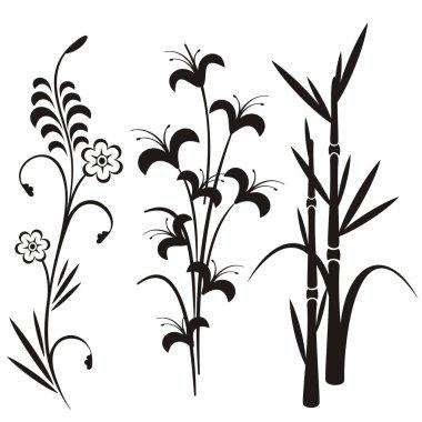 A set of 3 japanese floral designs