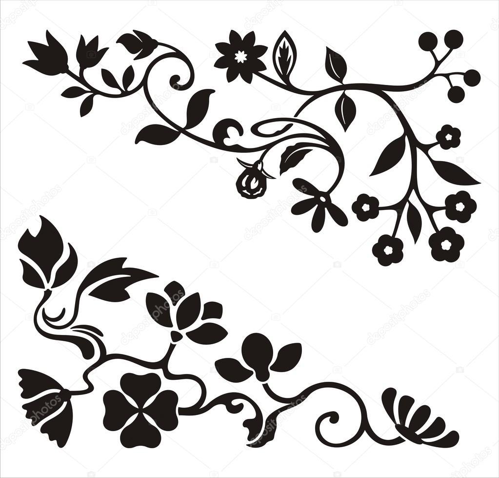 Ornamental corner designs with floral details, vector series