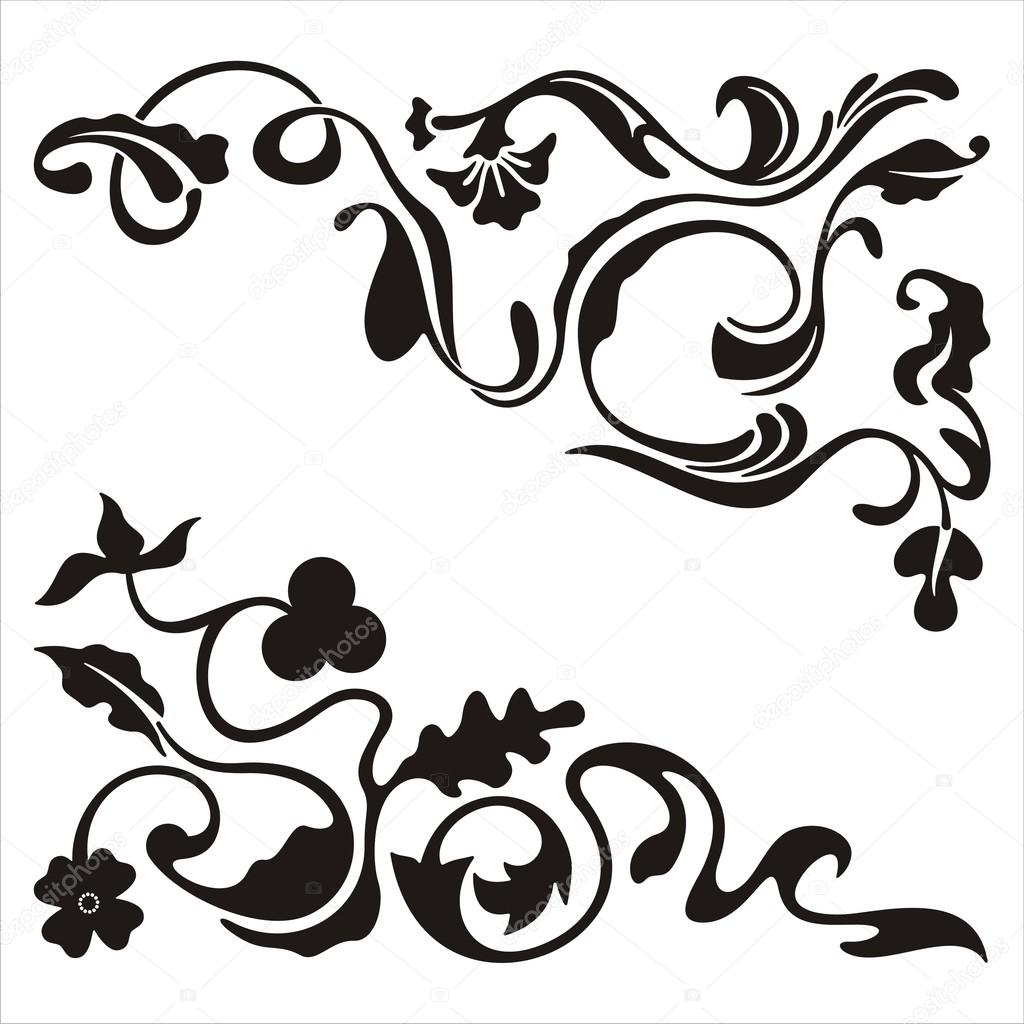 ornamental corner designs with floral details vector series rh depositphotos com ornament vector file for cnc v-bit carving ornamental vector design elements